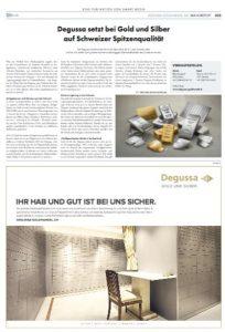Degussa setzt bei Gold und Silber auf Schweizer Spitzenqualität