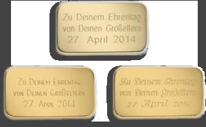 Degussag Goldhandel Gravur Beispiele