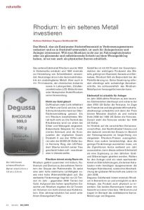 Degussa Rhodium: In ein seltenes Metall investieren