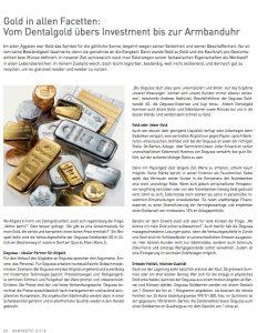 Degussa Vom Dentalgold übers Investment bis zur Armbanduhr