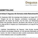 Altgold-Ankauf: Degussa AG Schweiz erlebt Rekordnachfrage