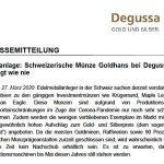 Schweizerische Münze Goldhans bei Degussa so gefragt wie nie